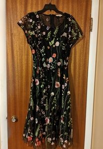 Modcloth floral midi with embroidered overlay